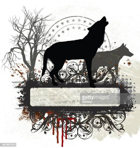 wolf banner - howling stock illustrations, clip art, cartoons, & icons