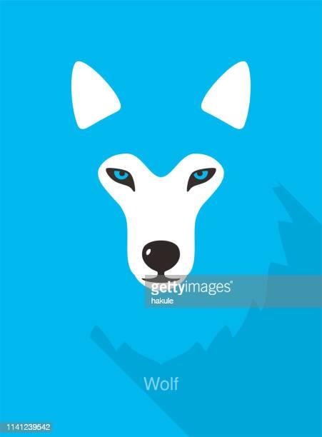 ウルフフェイスフラットアイコンデザイン、ベクトルイラスト - そり犬点のイラスト素材/クリップアート素材/マンガ素材/アイコン素材