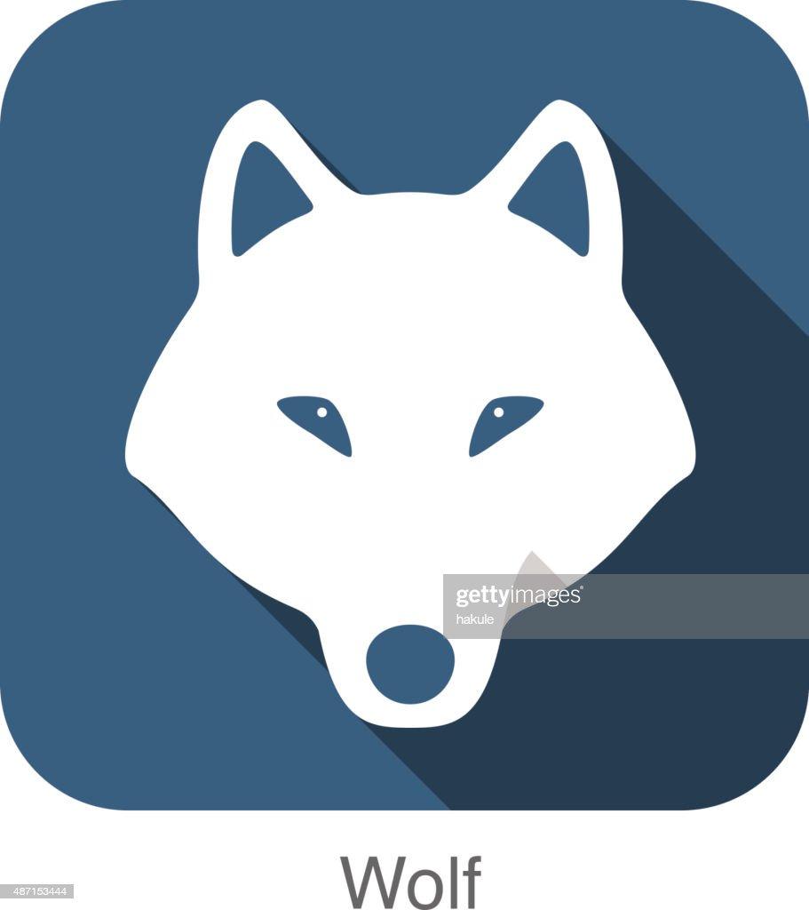 Wolf face flat icon, vector illustration