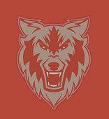 Wolf grining head illustration