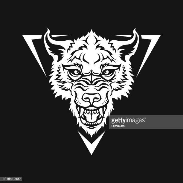 wolf head, dog, or werewolf - black and white cut out silhouette - snarling stock illustrations
