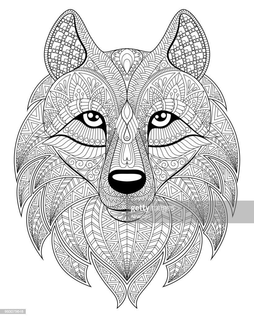 Hoofd Van De Wolf In Zentangle Stijl Volwassen Antistressprogramma