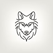 Wolf head mono line logo icon design.