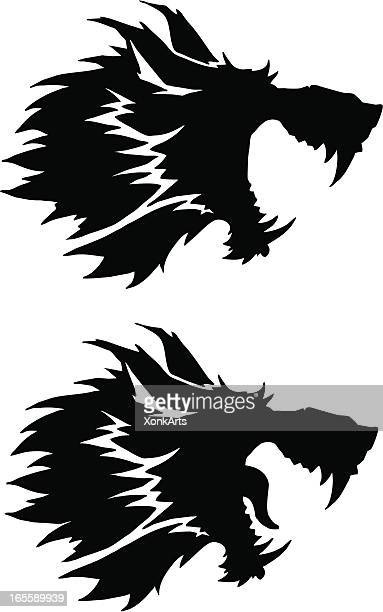 wolf head silhouette - howling stock illustrations, clip art, cartoons, & icons