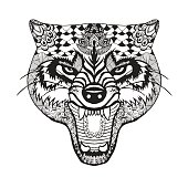 Wolf head. Sketch for tattoo or t-shirt