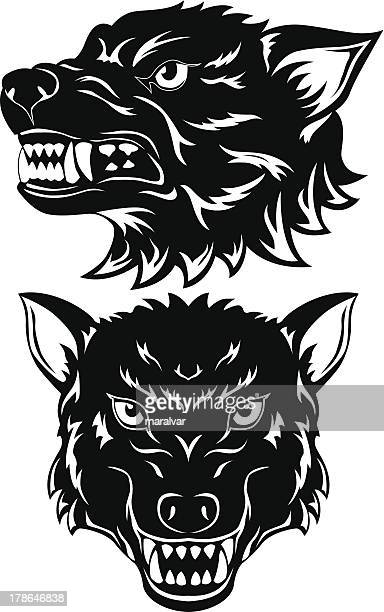 wolf head - agression stock illustrations, clip art, cartoons, & icons