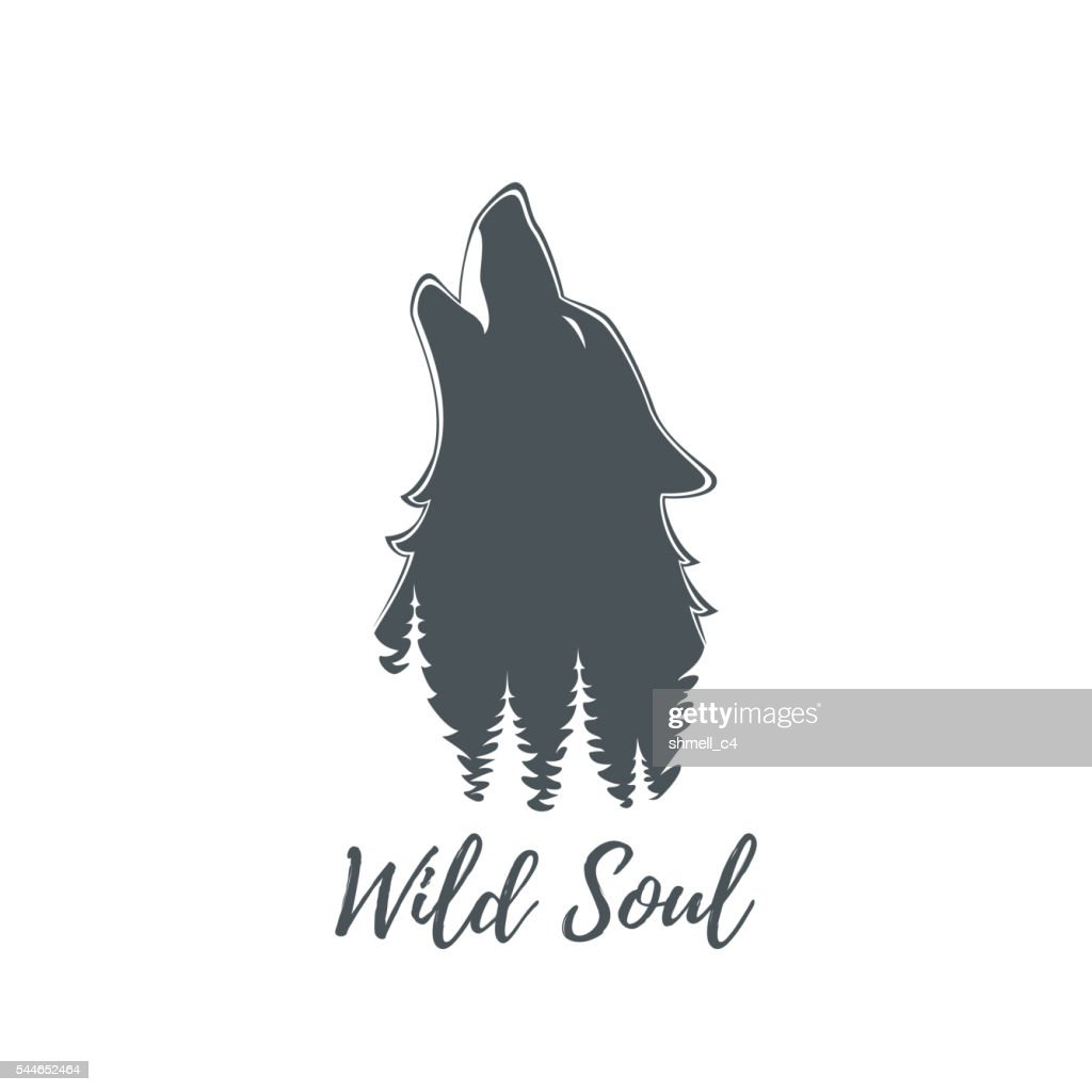 Wolf howling. Logo template.