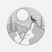 Wolf howling to the moon. Vector graphic illustration