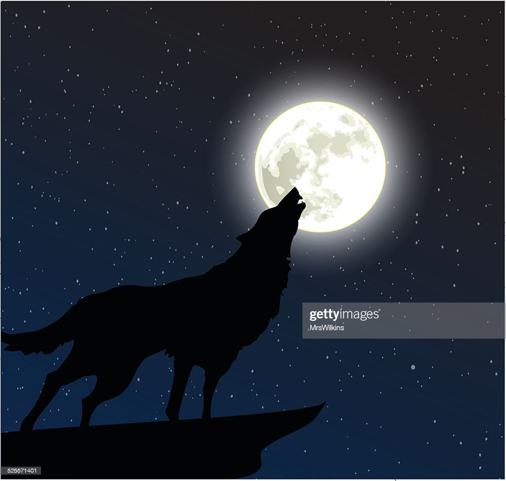 Wolf howling to the moon vector