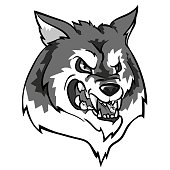 Wolf mascot, team label design
