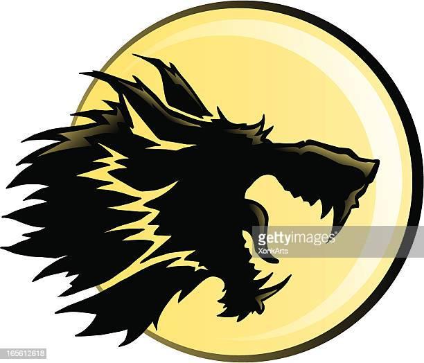 wolf moon silhouette - werewolf stock illustrations, clip art, cartoons, & icons