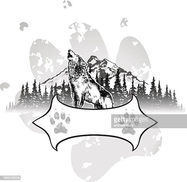 wolf shield - howling stock illustrations, clip art, cartoons, & icons