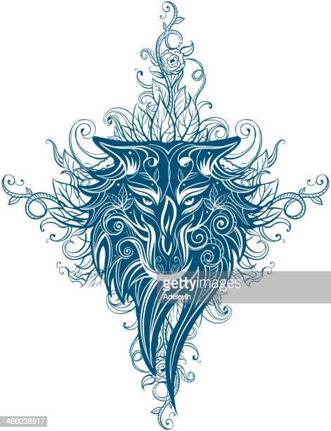 ウルフトライバル・タトゥーの女 - ケルト風点のイラスト素材/クリップアート素材/マンガ素材/アイコン素材