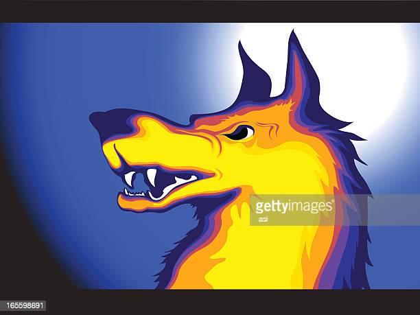 wolf - animal saliva stock illustrations, clip art, cartoons, & icons