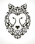 Wolf vector tattoo illustration