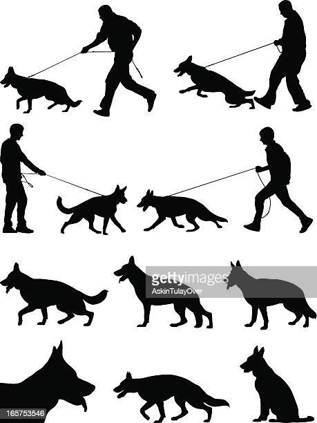 wolfdog - dog leash stock illustrations, clip art, cartoons, & icons
