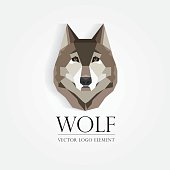 wolf`s head design element in low poly geometric style