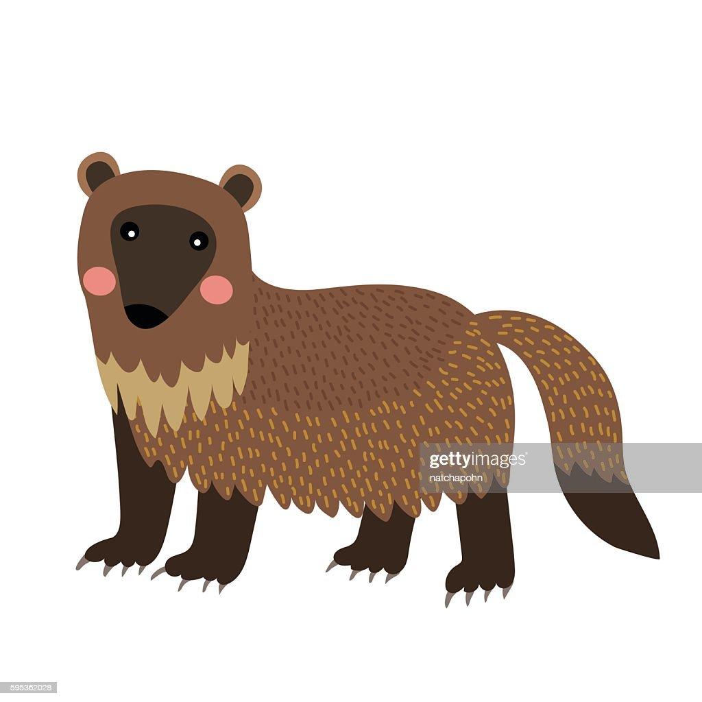 Wolverine animal cartoon character vector illustration.