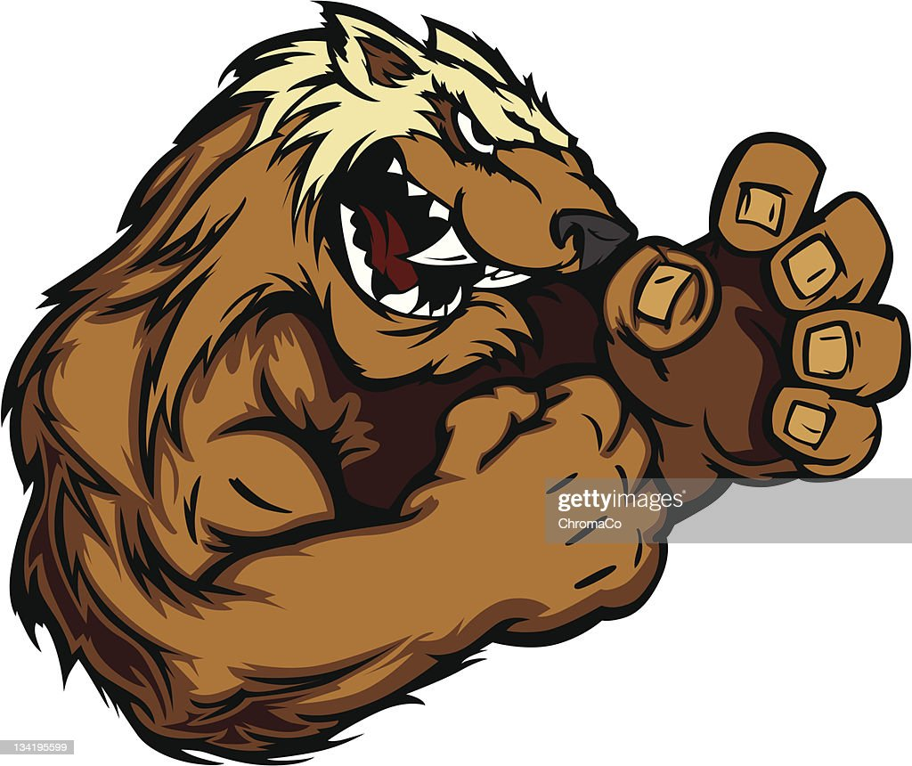 Wolverine Badger Fighting Mascot Body Vector Illustration