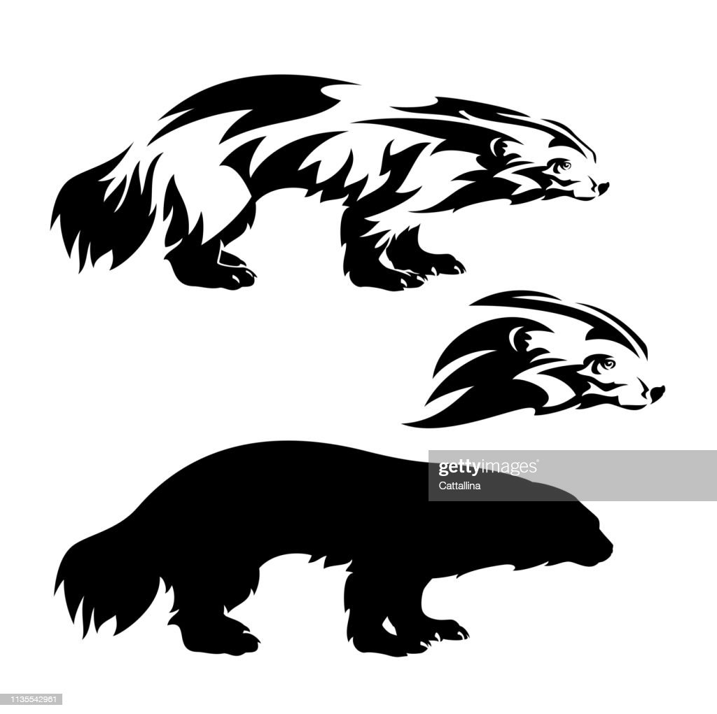 wolverine black vector silhouette and outline
