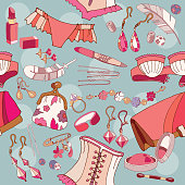 Woman accessories seamless pattern, underwear, cosmetics