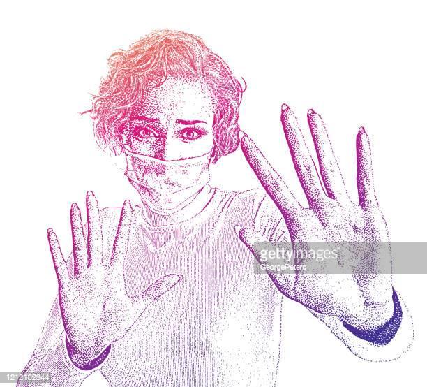 woman afraid of catching flu wearing protective face mask - woman wearing protective face mask stock illustrations