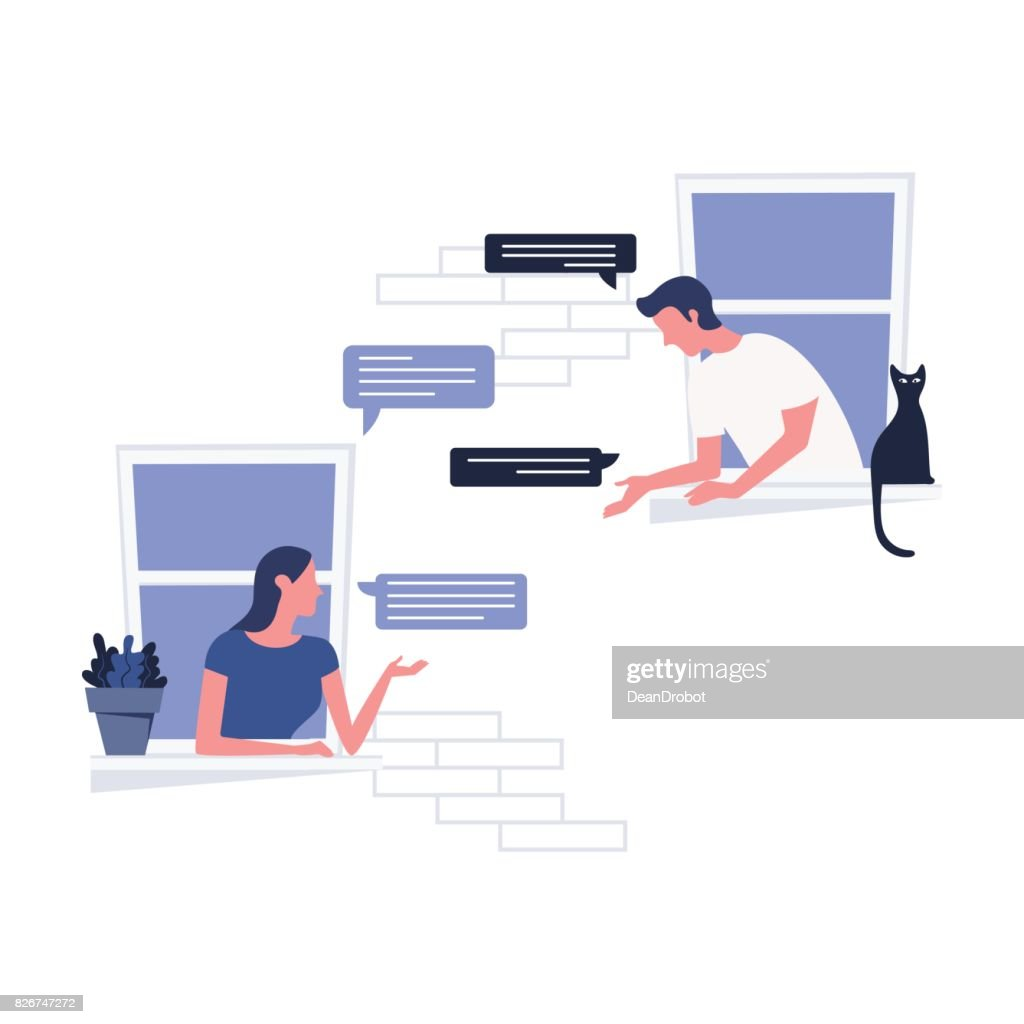 Woman and a man talking to each other by leaning out of the window. Live communication concept. Vector illustrationWoman and a man talking to each other by leaning out of the window. Live communication concept. Vector illustration