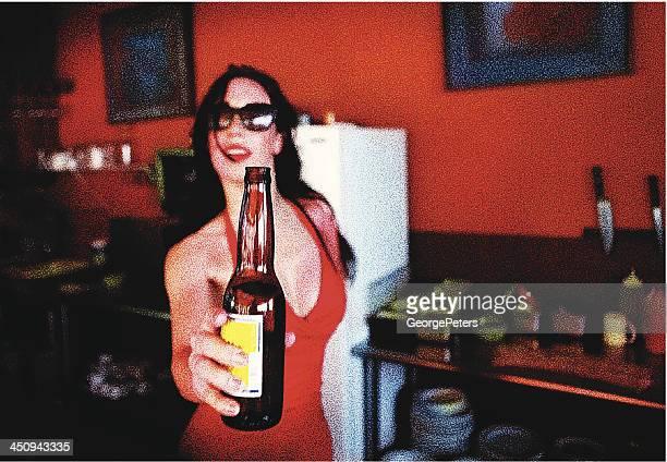 女性とビール
