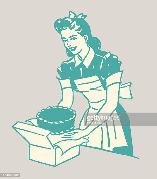 woman and cake - making a cake stock illustrations, clip art, cartoons, & icons