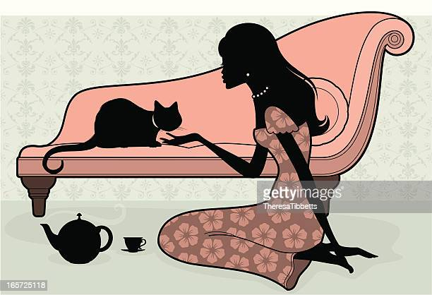 woman and cat - chaise stock illustrations, clip art, cartoons, & icons
