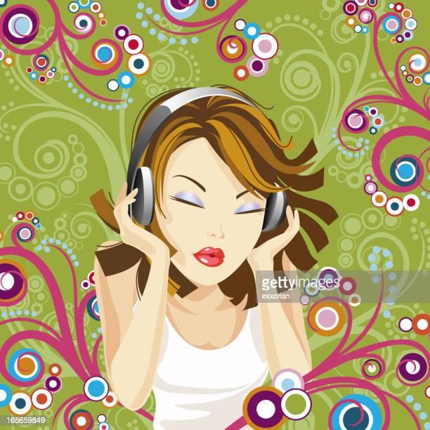 ilustraciones, imágenes clip art, dibujos animados e iconos de stock de mujer y auriculares integrados - mujer escuchando musica