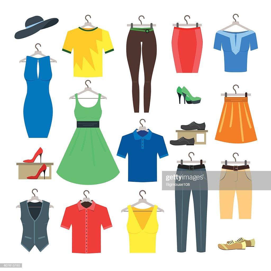 Woman and Man Clothe Set. Vector
