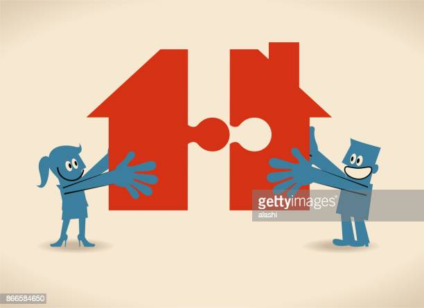 woman and man holding two jigsaw pieces to finish a house shape puzzle - power tool stock illustrations, clip art, cartoons, & icons