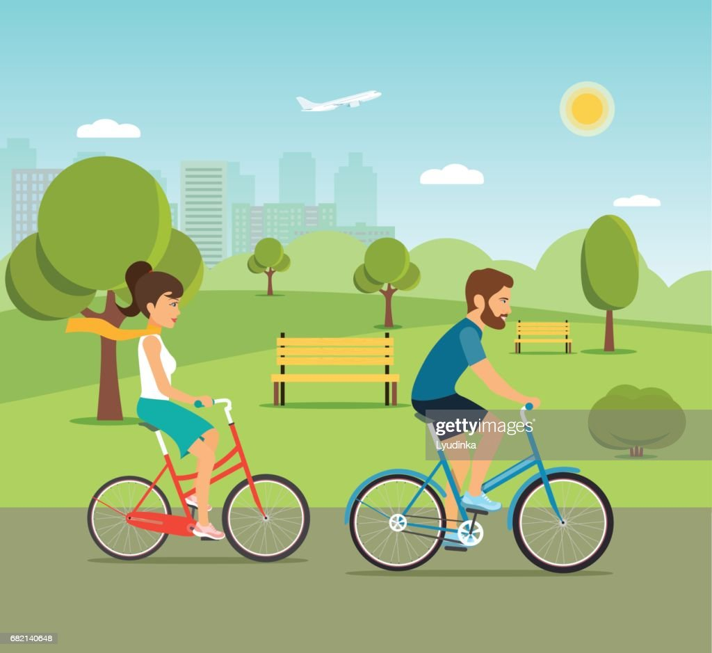 Woman and man ride the bike in the park. Flat vector illustration