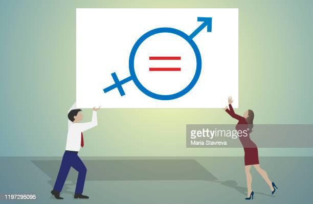 男女平等のシンボルを持つ女性と男性。 - バイアス点のイラスト素材/クリップアート素材/マンガ素材/アイコン素材