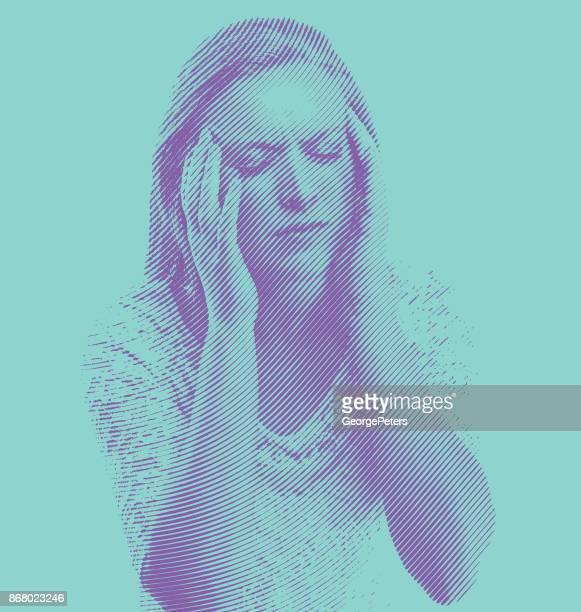 woman and migraine headeache - exhaustion stock illustrations