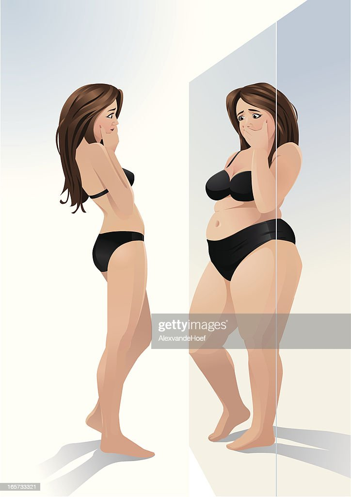 Woman and mirror, thinking she has overweight