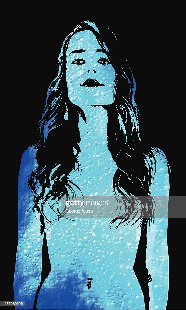 Woman and Pure Clean Water : stock illustration