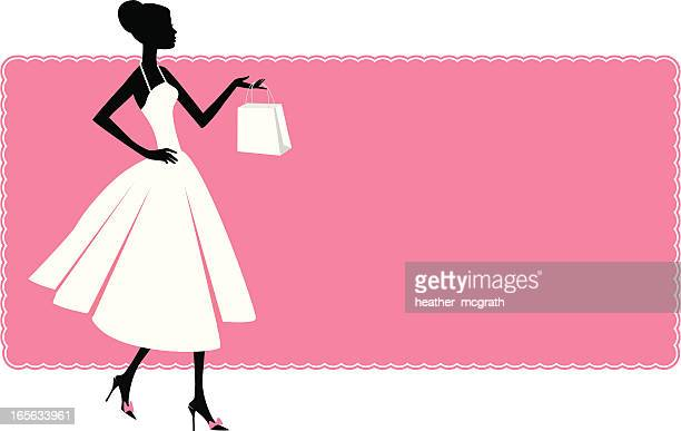 woman and shopping bag - high heels stock illustrations