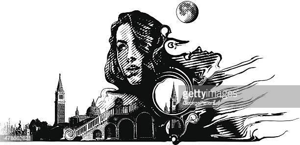 ilustrações de stock, clip art, desenhos animados e ícones de mulher e surrealistic paisagem - mulher fatal