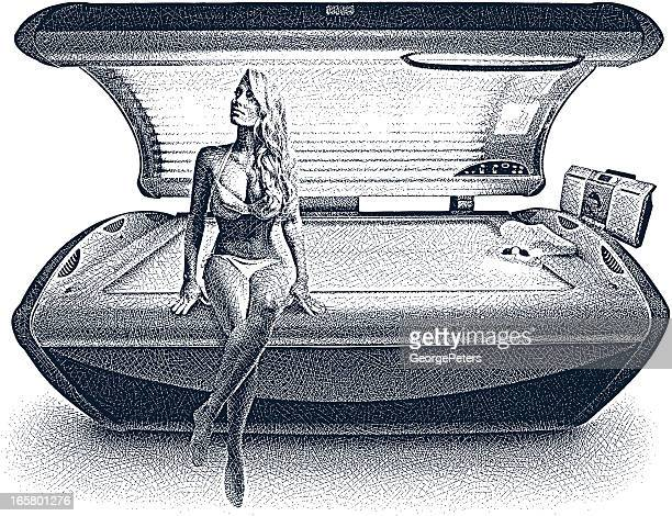 Woman and Tanning Bed