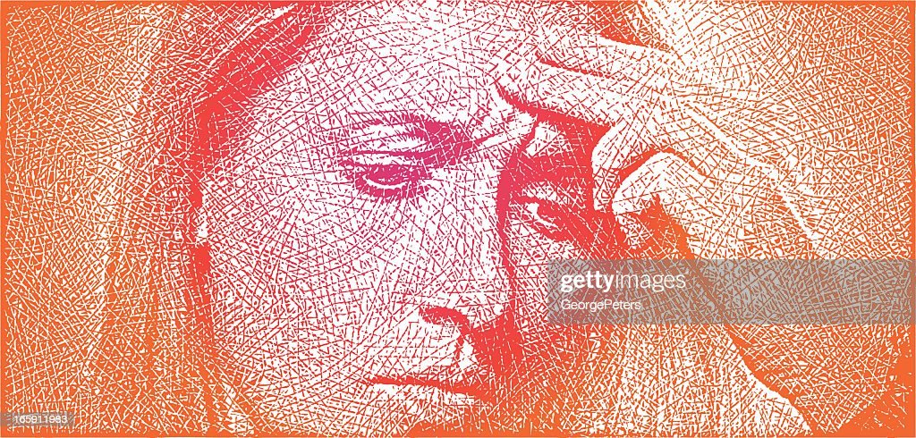 Woman and Tension Headache : stock illustration