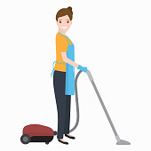woman and vacuum cleaner icon, cleaning illustration