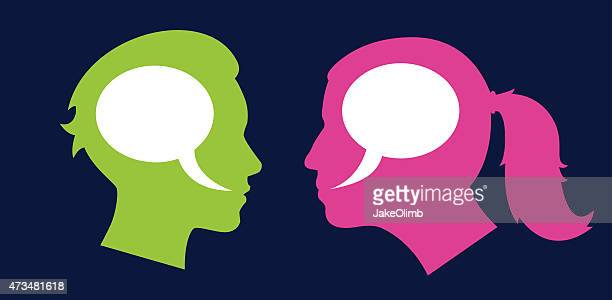 woman and woman profile speech bubbles - battle of the sexes concept stock illustrations