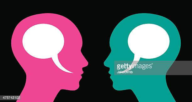woman and woman speech bubbles - side view stock illustrations