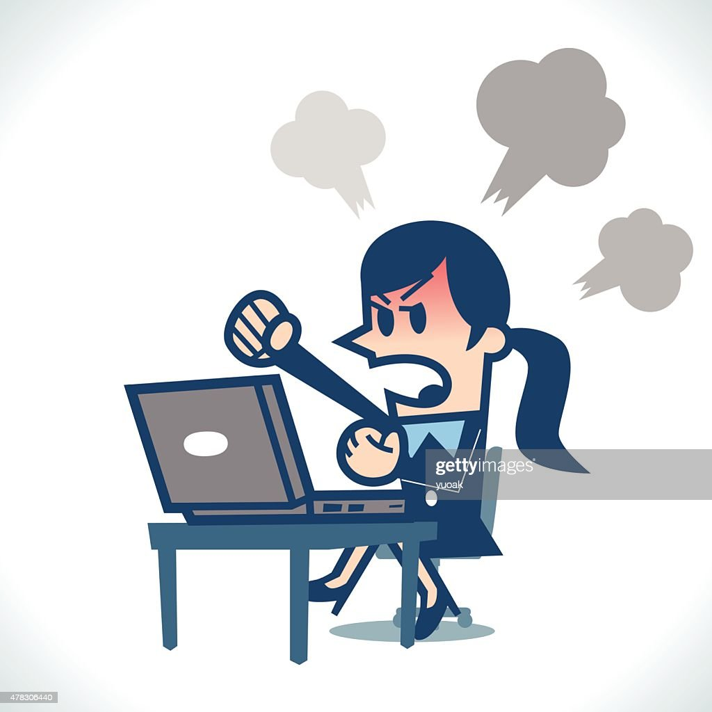Woman angry at computer : stock illustration