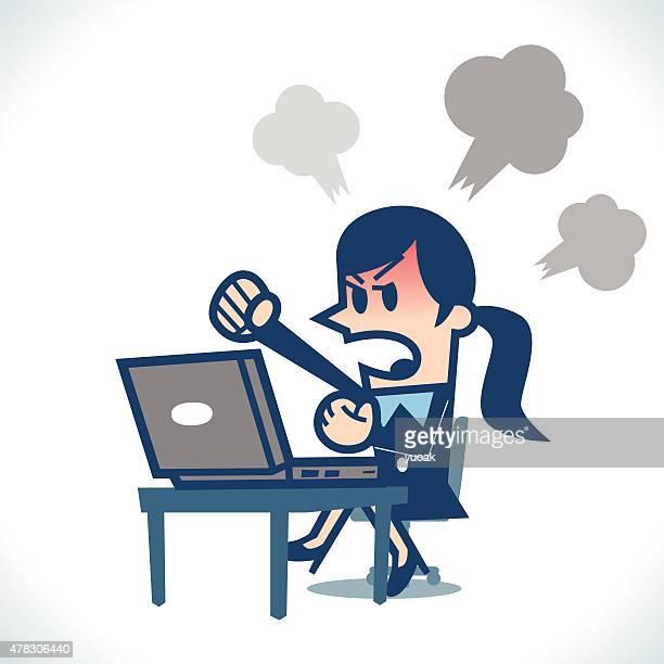 Woman angry at computer