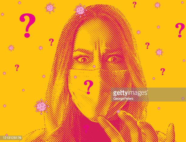 woman anxious about the economic effects of covid-19 - conspiracy stock illustrations