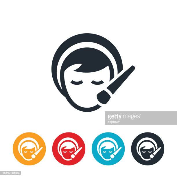 Woman Applying Makeup To Face Icon