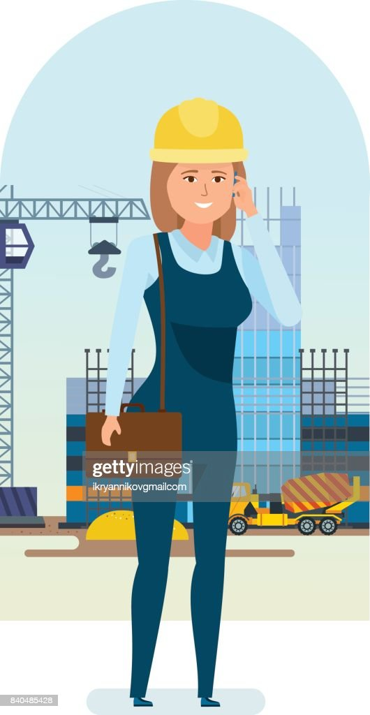 Woman architect worker, talks on phone, solves questions of construction